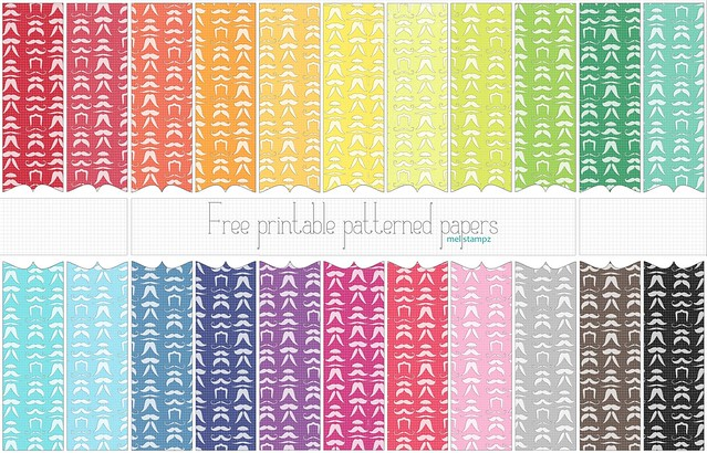 Mustaches (solid) - free printable digital patterned paper set PREVIEW copy