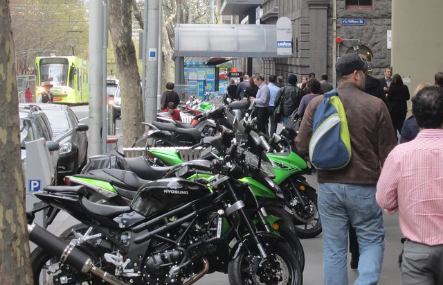 Motorbikes on Bourke Street