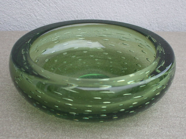 Vintage Whitefriars Glass Green Bubble Art Glass Bowl Mid Century Modern