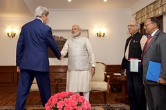 U.S. Secretary of State John Kerry shakes hands with Indian Prime Minister Narendra Modi before a bilateral meeting on August 31, 2016, at the Prime Minister's Residence in New Delhi, India. [State Department Photo/ Public Domain]