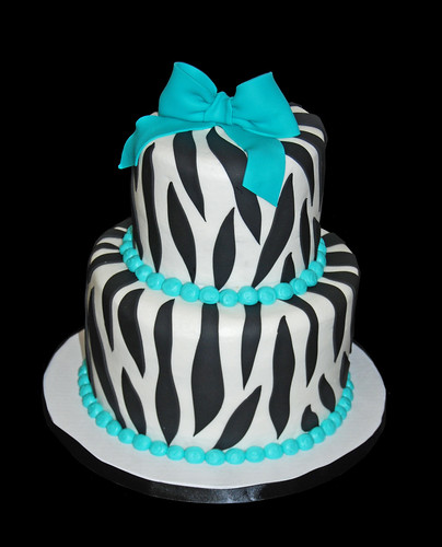 Zebra print and Tiffany blue bridal shower cake