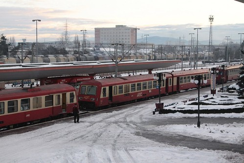 Trio of RegioTrans trains at Brașov after unloading morning commuters