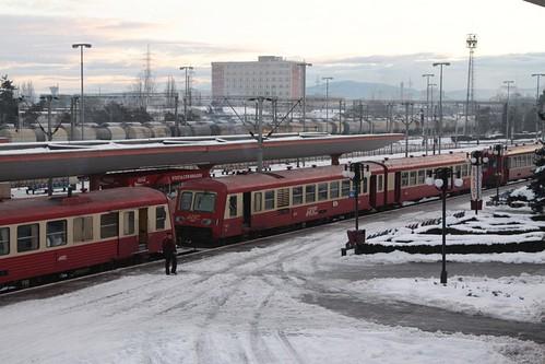 Trio of RegioTrans trains at Brașov after unloading morning commuters