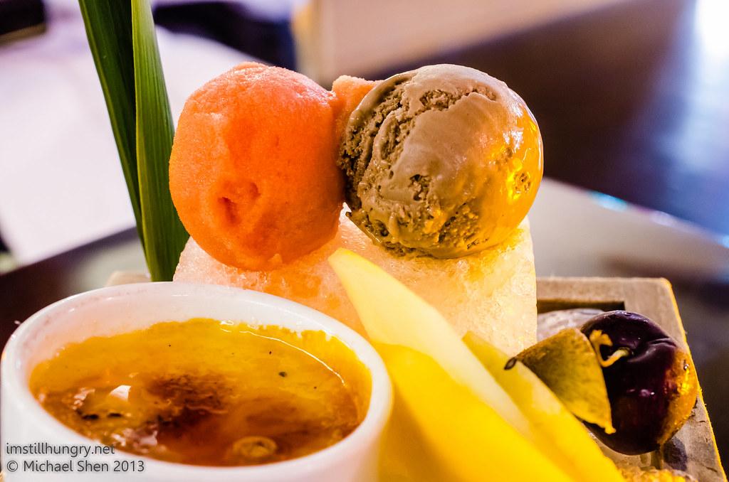 Tokonoma Chef's desserts - chocolate ice cream, strawberry sorbet, Crème brûlée, assorted fruits