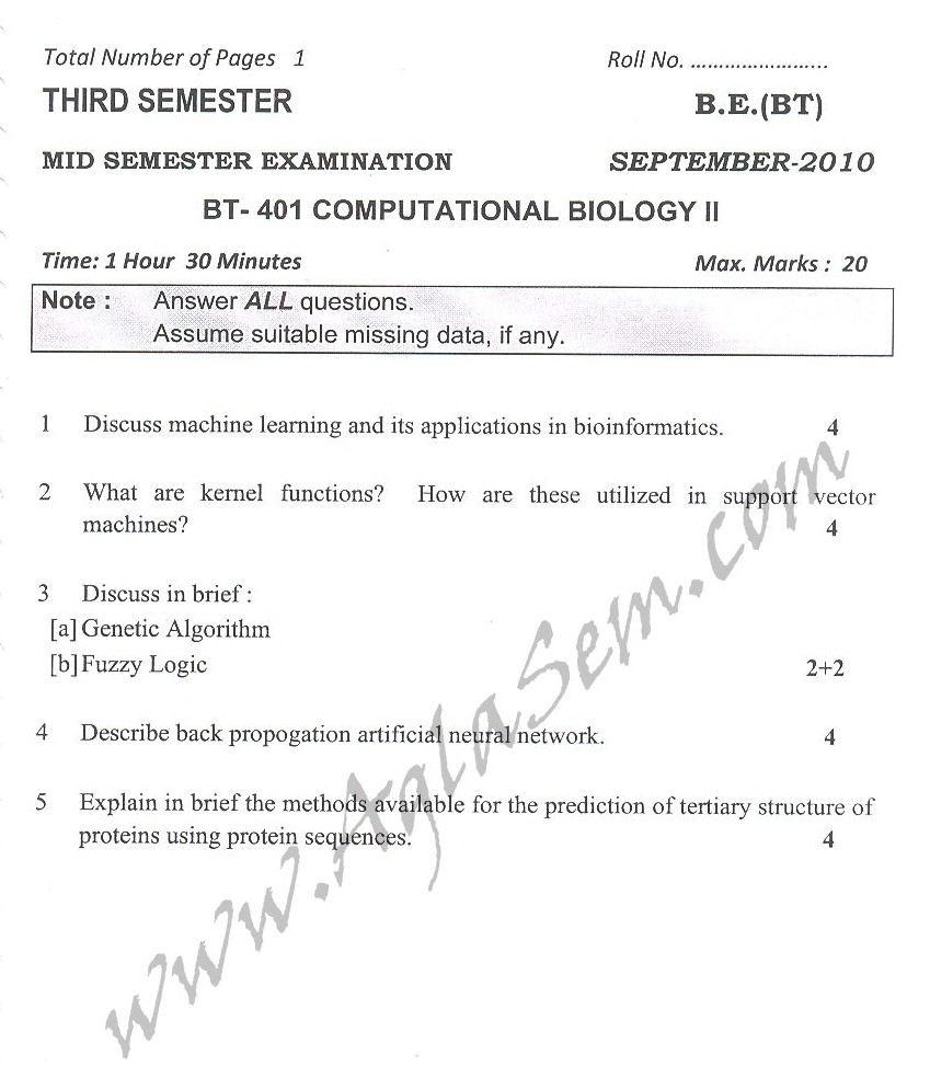 DTU Question Papers 2010 – 7 Semester - Mid Sem -  BT-401