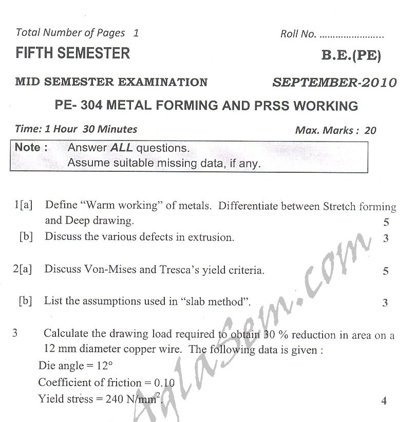 DTU Question Papers 2010 – 5 Semester - Mid Sem - PE-304
