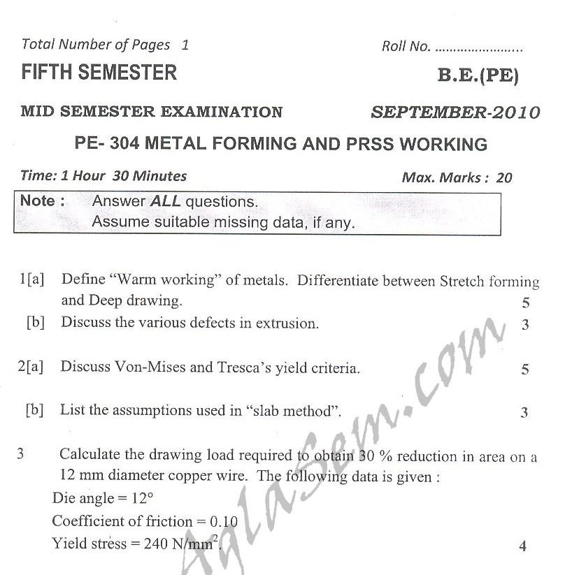 DTU Question Papers 2010 – 5 Semester - Mid Sem - PE-304