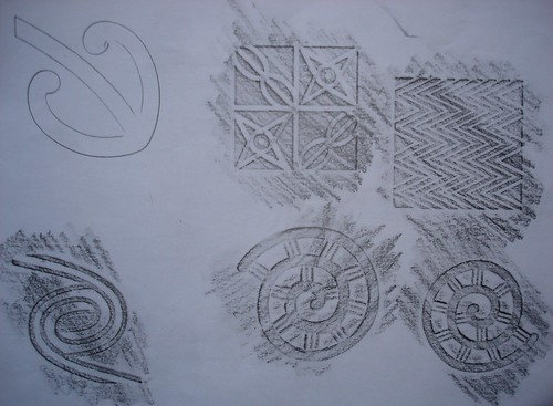 Tribal pencil rubbings and stencil