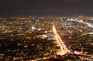 Night CityScape From Twin Peaks With Lite Fog Over The Horizon