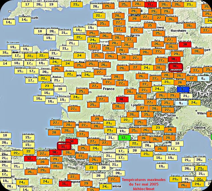 températures maximales du 1er mai le plus chaud de l'Histoire en 2005 météopassion