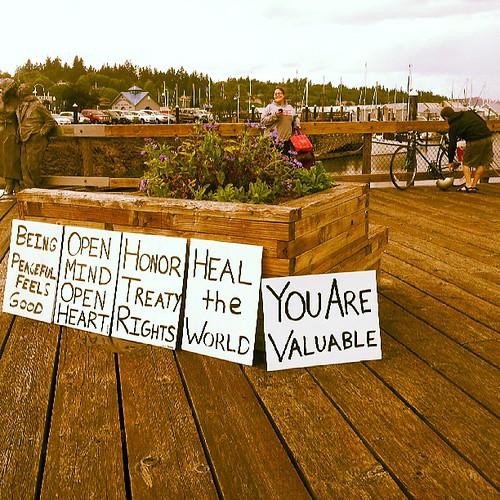 Peace vigil at Percival landing! #olywa #signs