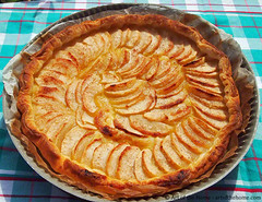 pastry(0.0), sweet potato pie(0.0), pecan pie(0.0), produce(0.0), dessert(0.0), cherry pie(0.0), pie(1.0), baked goods(1.0), custard pie(1.0), tart(1.0), food(1.0), dish(1.0), cuisine(1.0), apple pie(1.0),