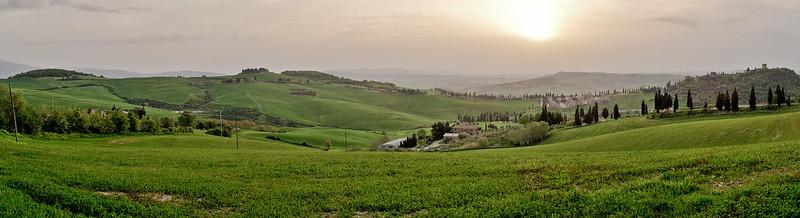 View over hills of Monticchiello