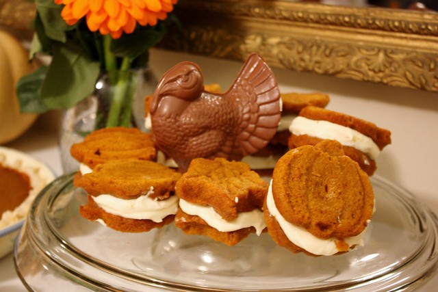 pumpkin-whoopie-pies-maple-cream-cheese-filling-chocolate-turkey