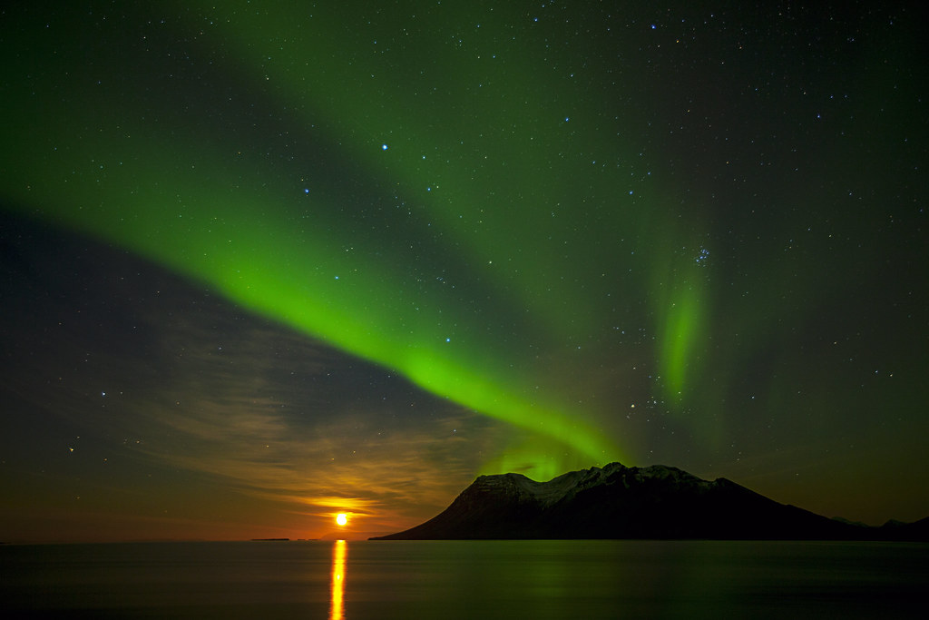 Aurora borealis over Bjarnarhafnarfjall Mountain - Iceland