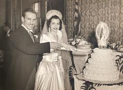Wedding, cutting cake in the Bronx, 1950