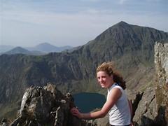 Helen up on Crib Goch looking towards the Snowdon Summit Image