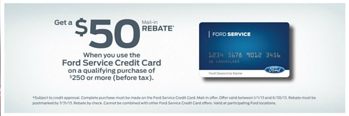 SSD-$50 Rebate Ford Svc Card