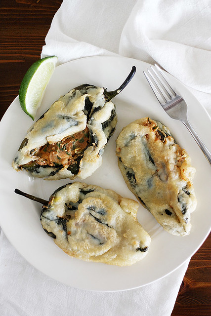 beer-battered stuffed poblanos
