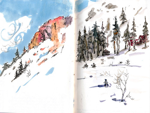 Sketching and Skiing: Kirkwood 2013 by apple-pine
