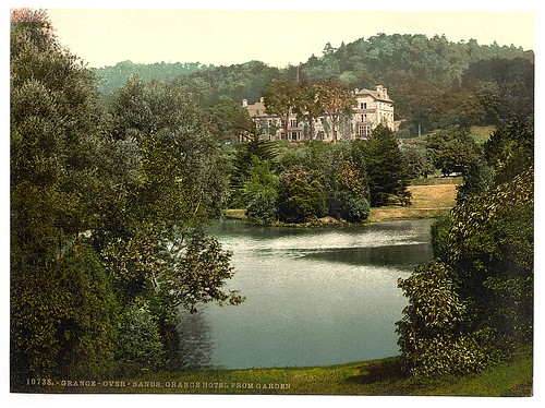 [Hotel from gardens, Grange-over-Sands, England]  (LOC)