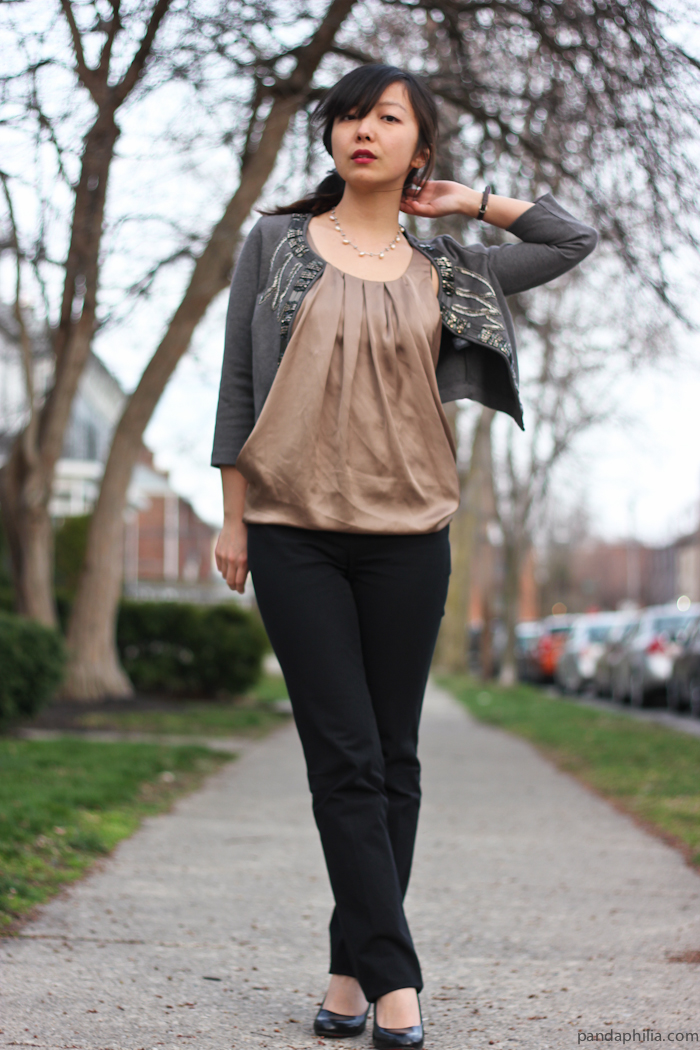 cropped beaded jacket, satin tank, black pants