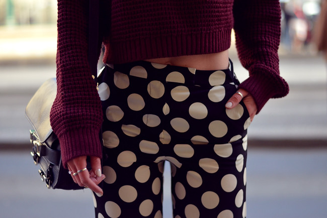 Topshop dots burgundy outfit blogger CATS & DOGS fashion blog 4