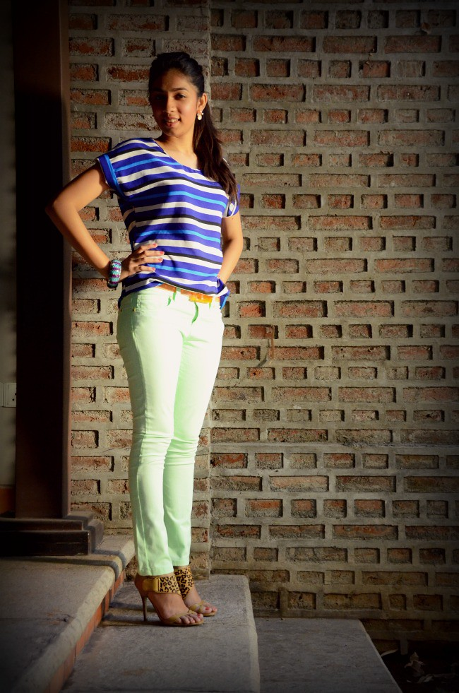 neon fashion, striped shirt, leopard shoes