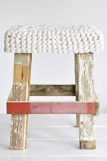 wood & wool white stool