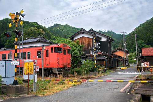 Railway crossing in Tsuwano, Japan