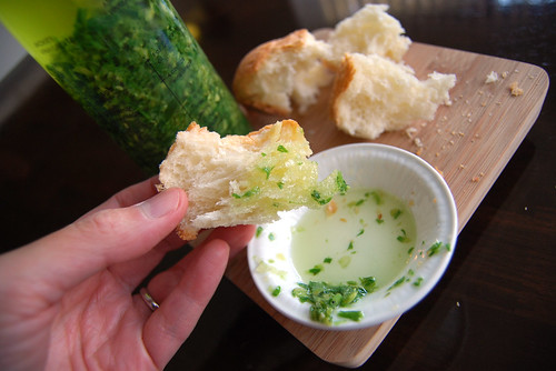 Ginger scallion sauce with bread