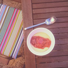 Sitting in the garden eating homegrown rhubarb with custard #omnomnom