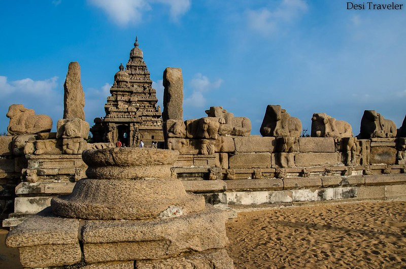 Nandi statutes outside shore temple Mahabalipuram