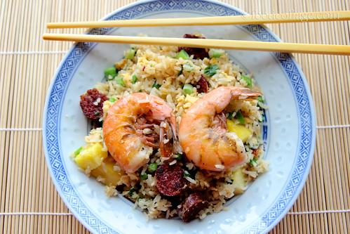 Chinese Fried Rice with Shrimp and Venison Kielbasa