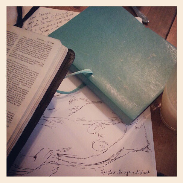 Morning sanity/refueling rituals. #bible #sketching #journaling