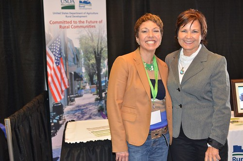 Tawney Brunsch, Executive Director of the Native CDFI, Lakota Fund with USDA Rural Development State Director Elsie Meeks at the StrikeForce conference. USDA photos
