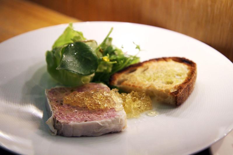 Duck and Pork Terrine, Muscat Gelee, Market Greens