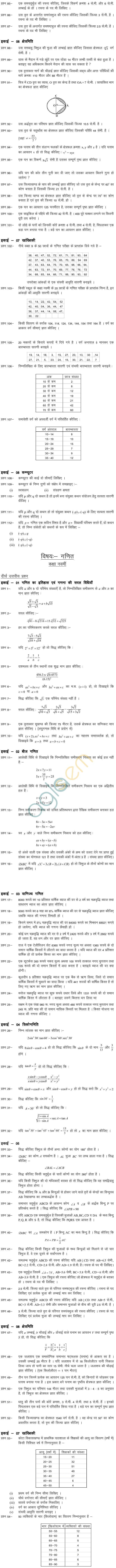 Chhattisgarh Board Class 09 Question Bank -Maths