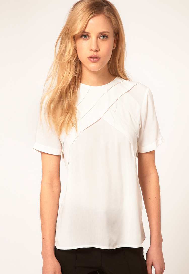 ASOS White Blouse with Diagonal Pleats
