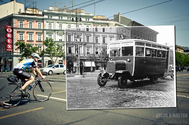 Budapest, VI. Oktogon, a busz a Városliget felõl érkezik fortepan_24112