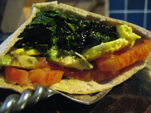 Breakfast sandwich with kale, spinach and tomato from the garden