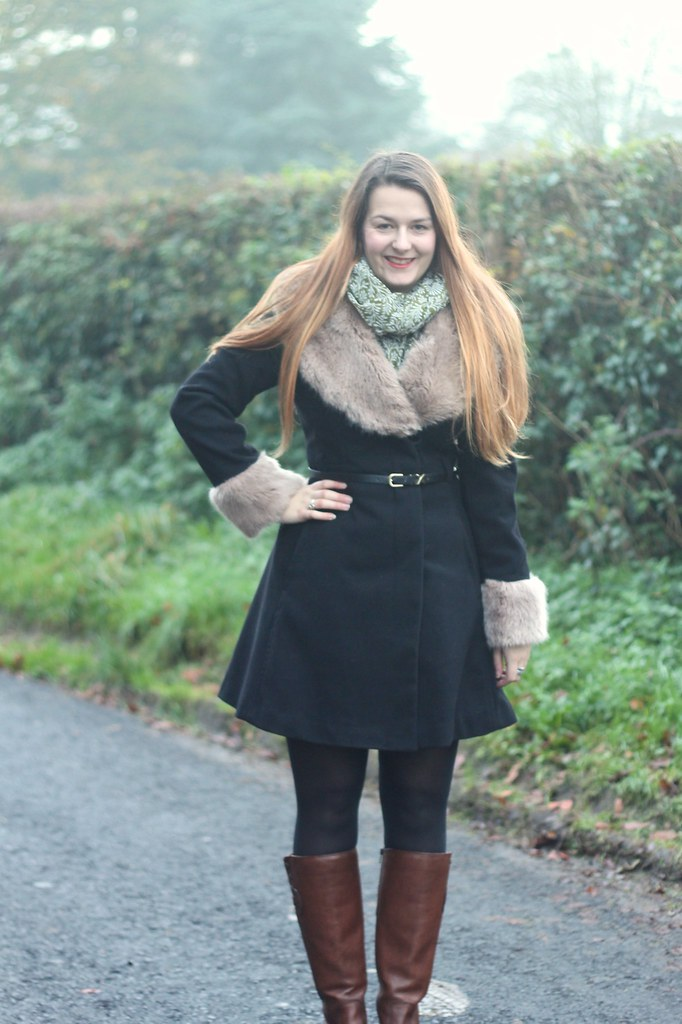 Fur coat with boots