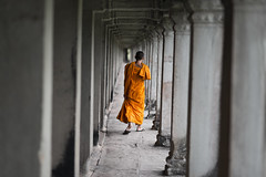 A buddhist monk in Angkor Wat