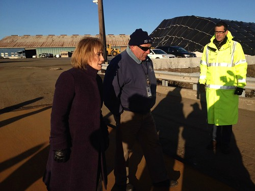 ew Hampshire Gov. Maggie Hassan and State officials inspect damaged Sarah Mildred Long bridge.