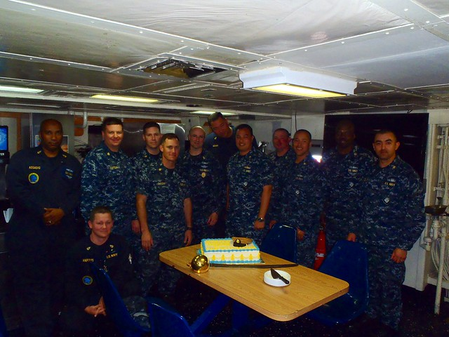 SAN DIEGO -  The Avenger-Class Mine Countermeasures Ship USS CHIEF (MCM 14) homeported in San Diego, CA conducted a cake cutting ceremony to celebrate the 120th Chief Petty Officers (CPO) Birthday.