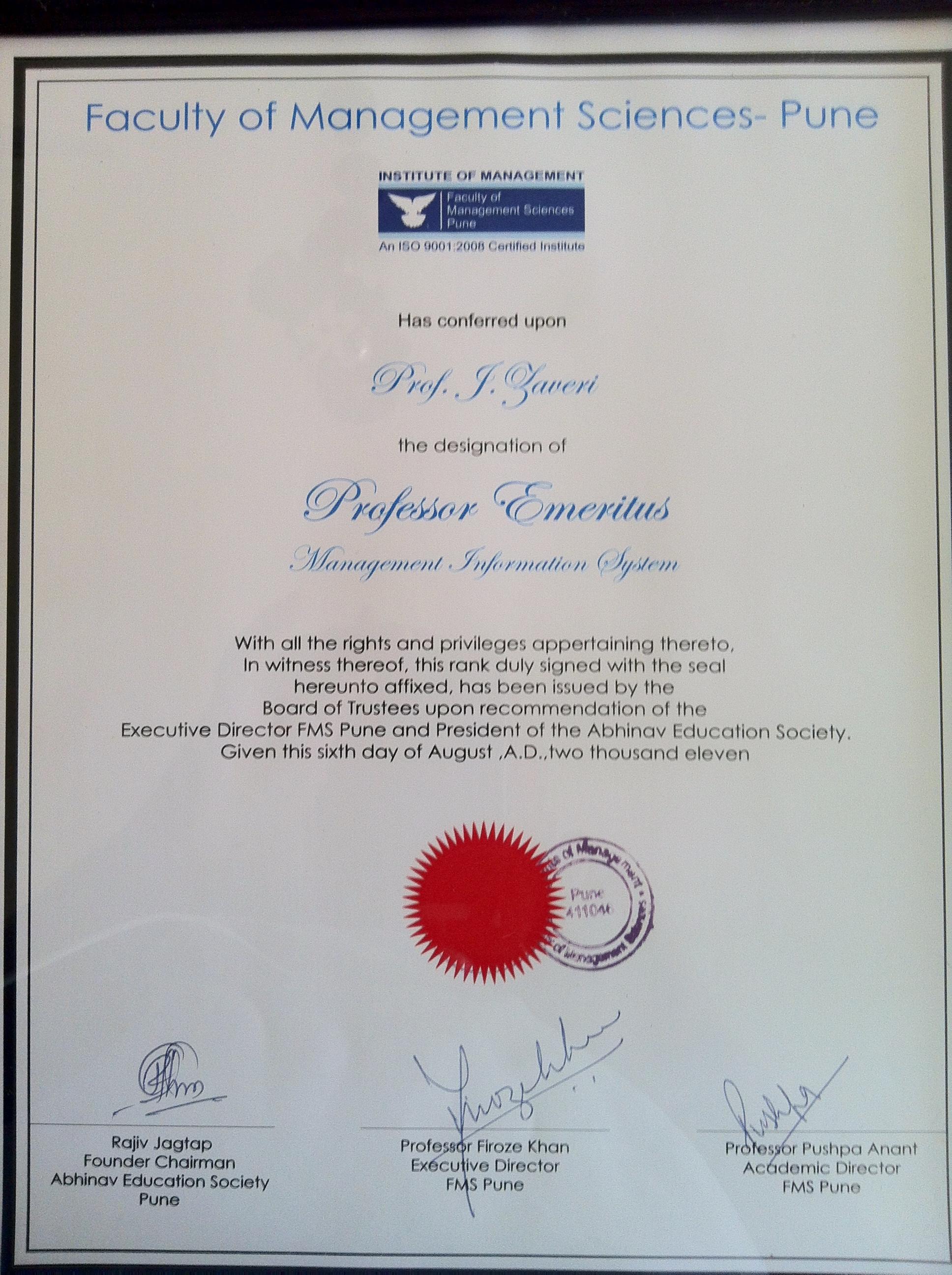 FMS Emeritus Certificate to Zaveri