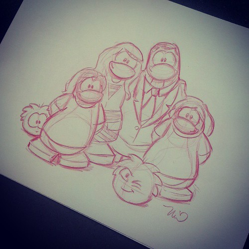 I don't even have words, my family in penguins! Including my one eyed cat! #ClubPenguinSummit