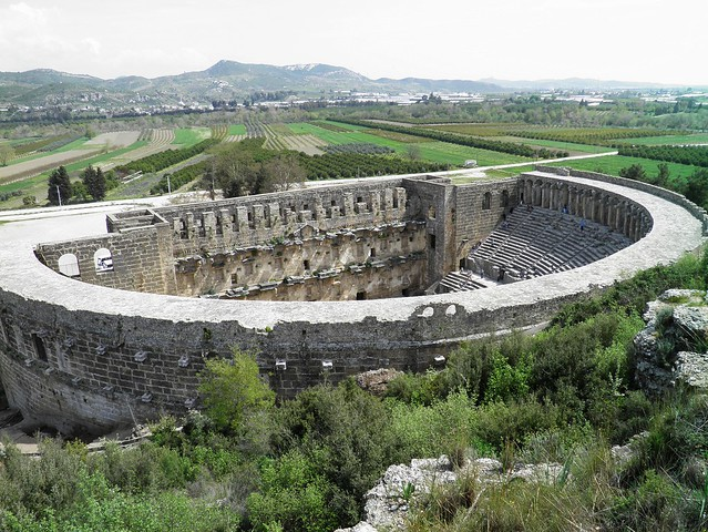 The Roman Theatre, built in the period 161 - 169 A.D. during the reign of Marcus Aurelius, Aspendos, Pamphylia, Turkey