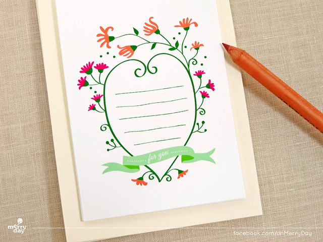 Merry Floral mini flat notescards by MerryDay