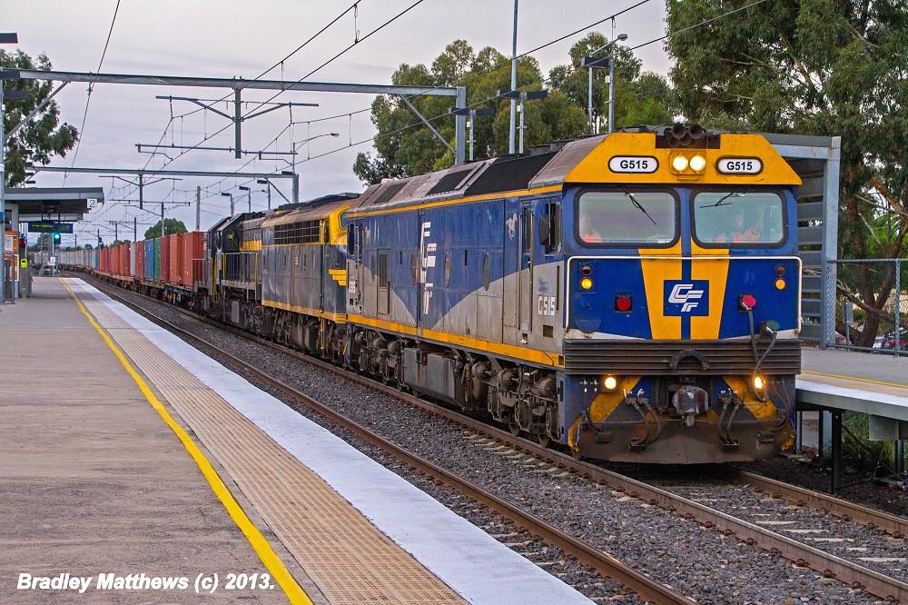 QUBE'S G515-S313-X31-T364 on #9072 up Deniliquin Rice Train at Keilor Plain (21/4/2013) by Bradley Matthews